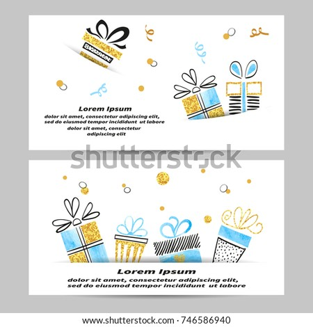 Gift Voucher Coupon Design With Presents Vector Template Of Christmas Certificate