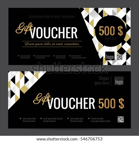 Gift voucher coupon discount elegant gift 546706753 gift voucher coupon discount elegant gift certificate template with gold black and white triangle pattern yelopaper Gallery