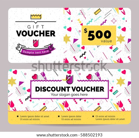 Gift Voucher Coupon discount for Women's Day celebration with holiday symbols  in retro 80s, 90s memphis style. Vector illustration