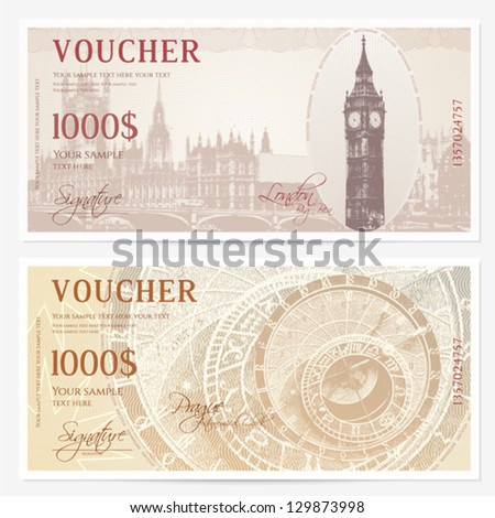 Bank note stock images royalty free images vectors shutterstock gift voucher coupon template with guilloche pattern watermarks background with big pronofoot35fo Choice Image