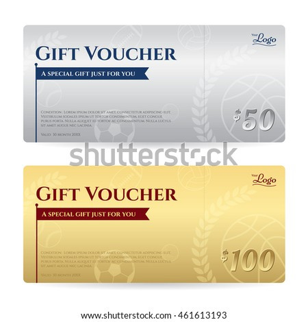 Football certificate stock images royalty free images vectors gift voucher or gift certificate template in luxury gold and silver theme yadclub Choice Image