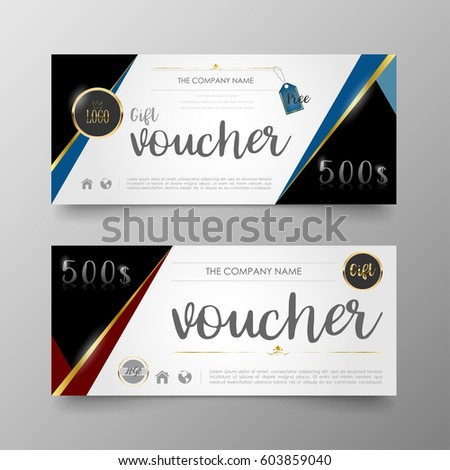 Gift Voucher Premium Template On Background Stock Photo (Photo ...