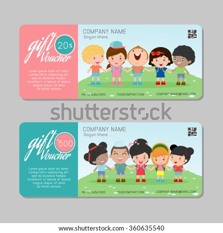 Gift voucher template colorful patterncute gift stock vector gift voucher template and modern pattern kids concept voucher template with premium pattern yelopaper Gallery