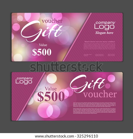 Gift voucher template. Can be use for  shopping cards,  discount coupon, banner, discount card , web design and other. Vector illustration. Abstract design - stock vector