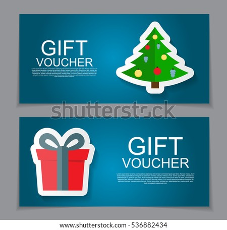Gift Voucher Template Christmas New Year Stock Vector 534438124