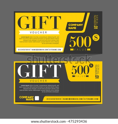 Gift Voucher Template Gift Certificate Coupon Stock Vector 475293436 ...