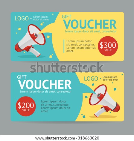 Gift Voucher Template. The announcement of the winning. Vector illustration - stock vector