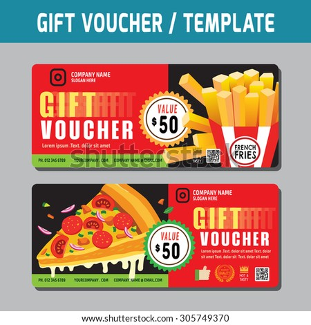 Food Voucher Template Gift Voucher Template Vector Illustration