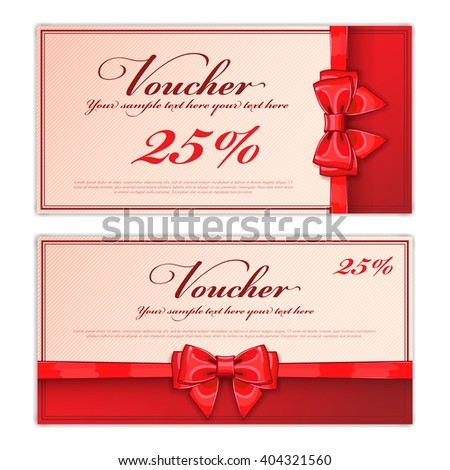 Two Gift Card Template Red Ribbon Vector 361996343 – Prize Voucher Template