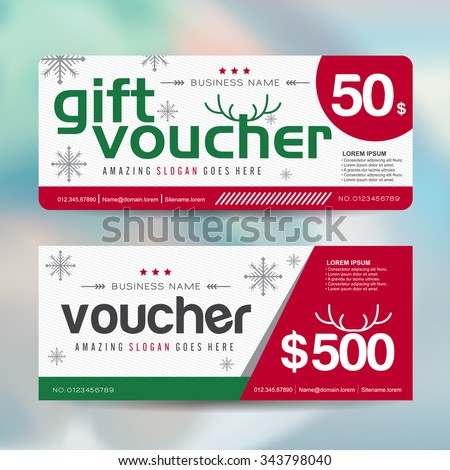 Gift voucher template with christmas colorful pattern,Merry Christmas,Vector illustration - stock vector