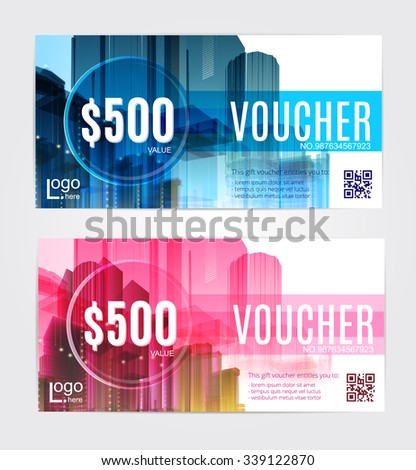 Gift voucher template with clean and modern pattern buildings, houses, skyscrapers. - stock vector
