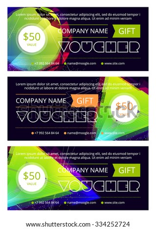 Gift voucher template with clean and modern pattern, Vector illustration - stock vector
