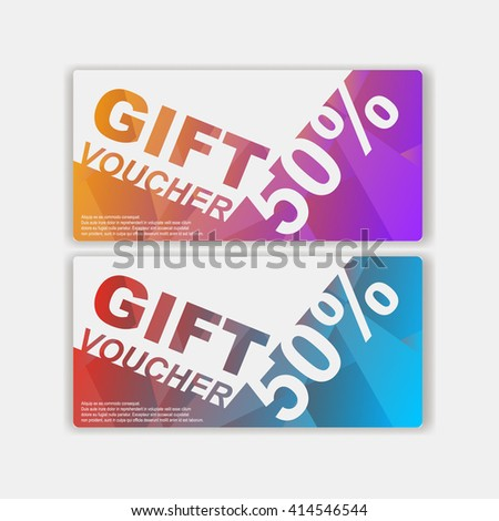 Gift voucher template with colorful modern style ,pop art design vector illustration