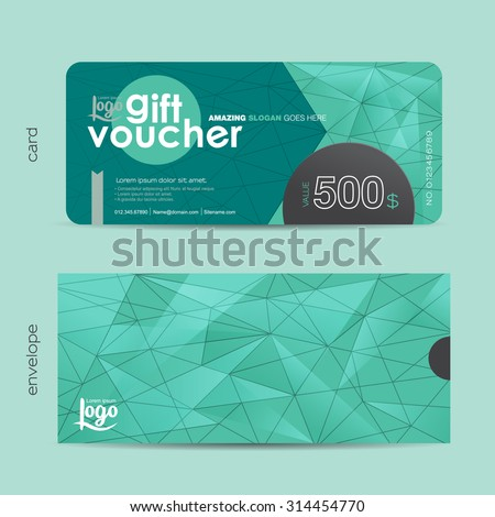 Gift voucher template with colorful pattern and envelope design with geometric pattern,cute gift voucher certificate coupon design template,,Vector illustration - stock vector