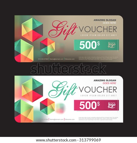 Gift Voucher Template Colorful Patterncute Gift Stock Photo Photo