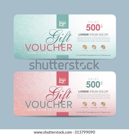 Gift voucher template with colorful pattern,cute gift voucher certificate coupon design template,Collection gift certificate business card banner calling card poster,Vector illustration - stock vector