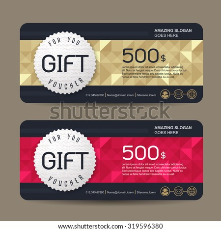 Gift Voucher Template With Colorful Pattern,cute Gift Voucher Certificate  Coupon Design Template,Collection  Discount Coupons Templates
