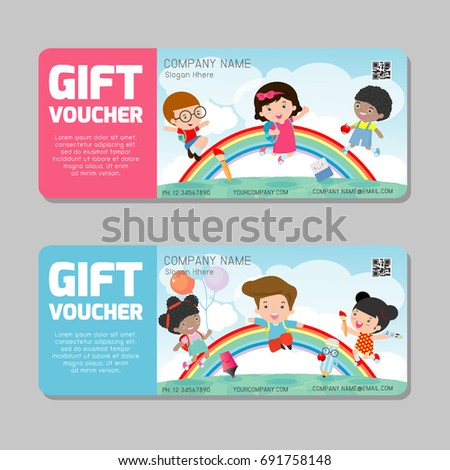 Gift voucher template colorful patterncute gift stock vector gift voucher template with colorful patterncute gift voucher certificate coupon design templatekids yelopaper Gallery