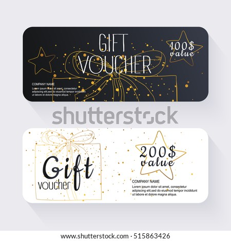 Gift Voucher Template Gold Background Background Vector – Coupon Voucher Template