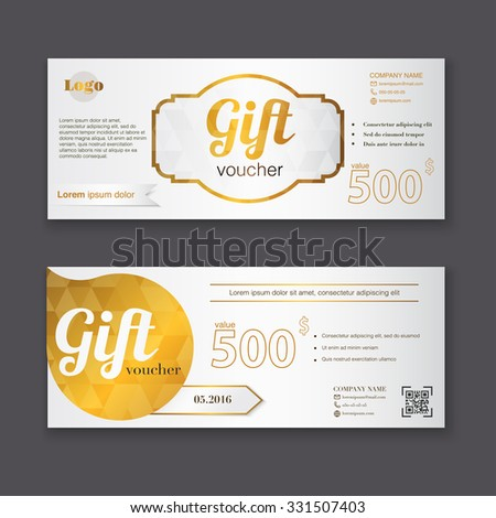 Gift voucher template gold pattern certificate stock vector gift voucher template with gold pattern certificate background design coupon invitation currency yelopaper Choice Image