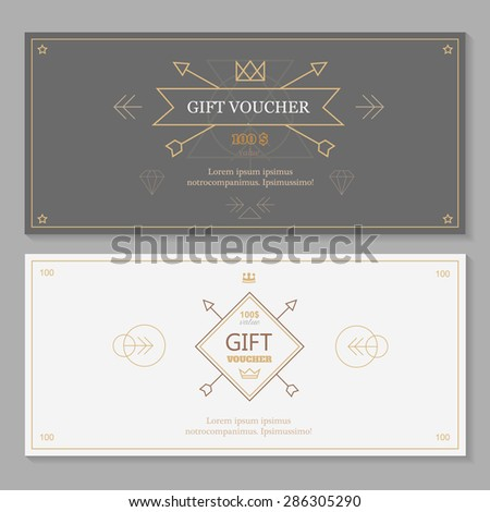 Gift voucher template with hipster design,  line art - stock vector