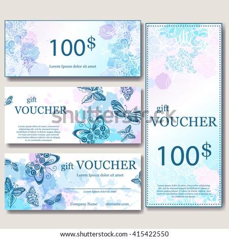 Gift Voucher Template Mandala Design Certificate Stock Vector - Magazine subscription gift certificate template
