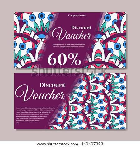 Gift voucher template mandala design certificate stock vector gift voucher template with mandala design certificate for sport center magazine or etc yadclub Gallery