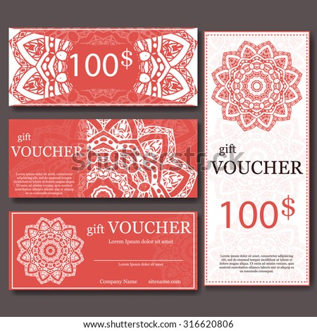Gift Voucher Template Mandala Design Certificate Stock Vector