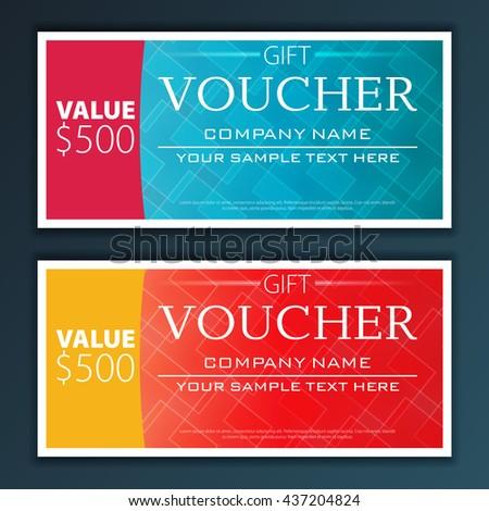 Gift voucher template with modern flat pattern - stock vector
