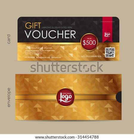 Gift voucher template with premium pattern and envelope design with geometric pattern,cute gift voucher certificate coupon design template,,Vector illustration - stock vector