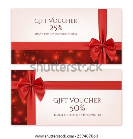 Gift voucher template with red ribbon and a bow. Vector illustration