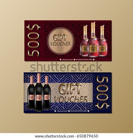 Gift voucher template sparkles wine bottles stock vector 650255275 gift voucher template with sparkles and wine bottles for your design vector illustration yelopaper Image collections
