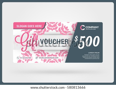 Gift voucher vector design template discount stock vector 580813666 gift voucher vector design template discount card gift certificate pink color theme yadclub Image collections