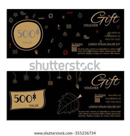 Gift voucher. Vector, illustration. Card template.