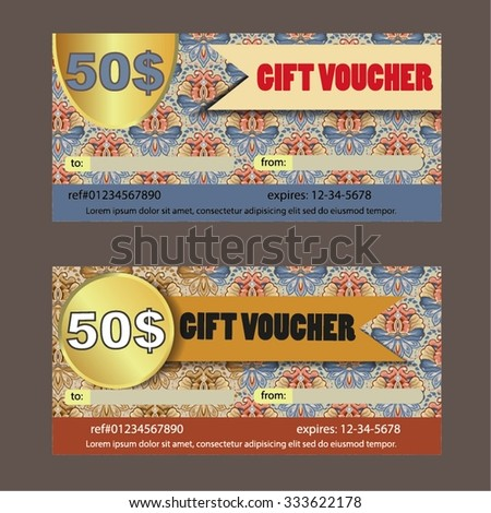Gift voucher. Vector illustration, coupon template.  - stock vector