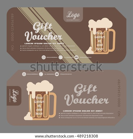 Gift voucher vector illustration to increase the sales of beer in a bar.