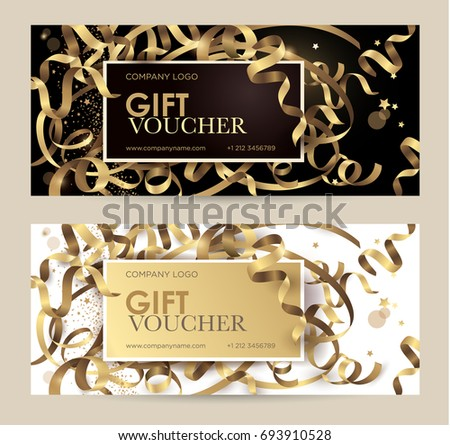 Gift voucher stock images royalty free images vectors gift voucher with gold ribbons serpentine and glitter christmas gift certificate vector template for yelopaper Gallery