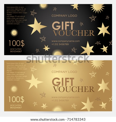Gift Voucher With Gold Stars. Christmas Gift Certificate. Vector Template  For Gift Card,  Christmas Gift Vouchers Templates