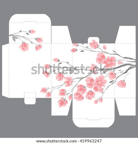 Gift wedding favor die box design template with nature pattern - abstract vector nature pattern with gentle sakura flowers