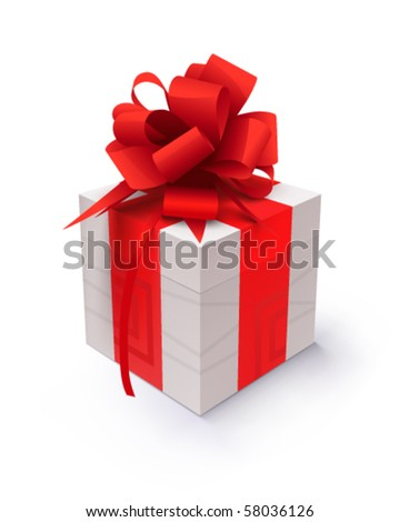 Gift with red ribbon on a white background - stock vector