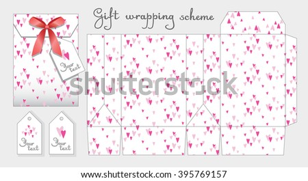 Gift wrapping scheme. Bonbonniere with label for celebrations and weddings. Packing box template . Cute pattern of small pink hearts. Light background.