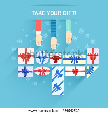 Gifts boxes with colored ribbons. Christmas gifts with beautiful bows. Hands reach for gifts. Flat design. - stock vector