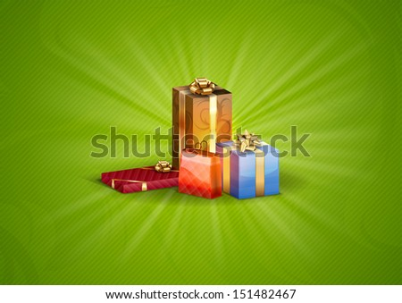 gifts on the green background