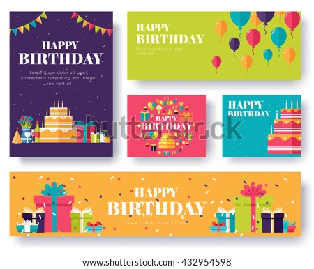 Gifts vector banners set  - stock vector