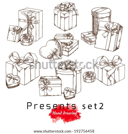 gifts, vector hand drawing - stock vector