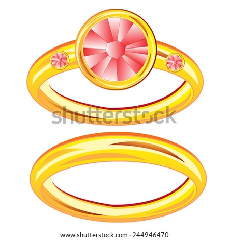 Gilded ring with jewels on white background is insulated - stock vector