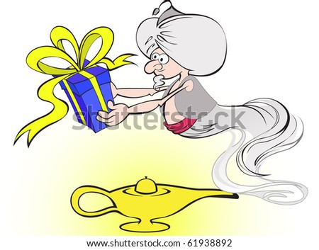 gin with a big blue box in hands and the magic lamp - stock vector