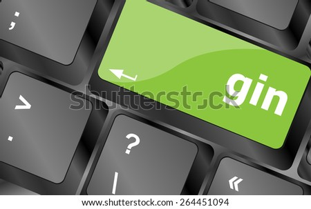 gin word on keyboard key, notebook computer button - stock vector