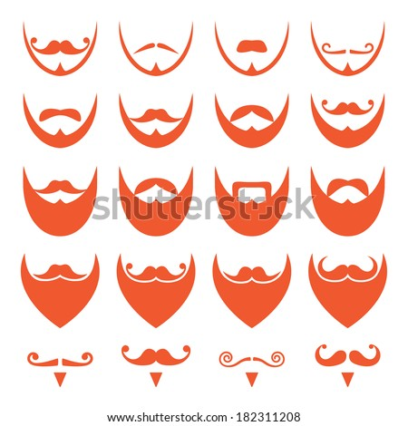 Ginger beard with moustache or mustache vector icons set - stock vector