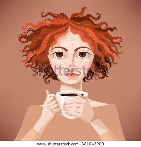 Ginger girl with coffee - stock vector
